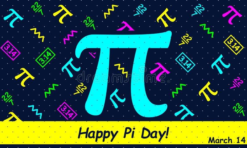 Día feliz del pi - vector stock de ilustración