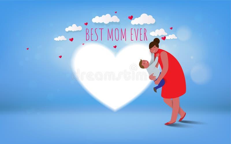 Día feliz del `s de la madre La mamá y su niño del hijo son que juegan, sonrientes y de abrazos en fondo del corazón Día de fiest ilustración del vector