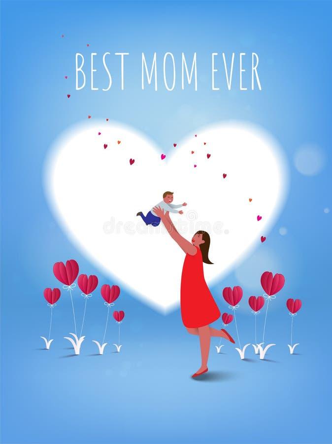 Día feliz del `s de la madre La mamá y su niño son el jugar, sonriendo en h libre illustration