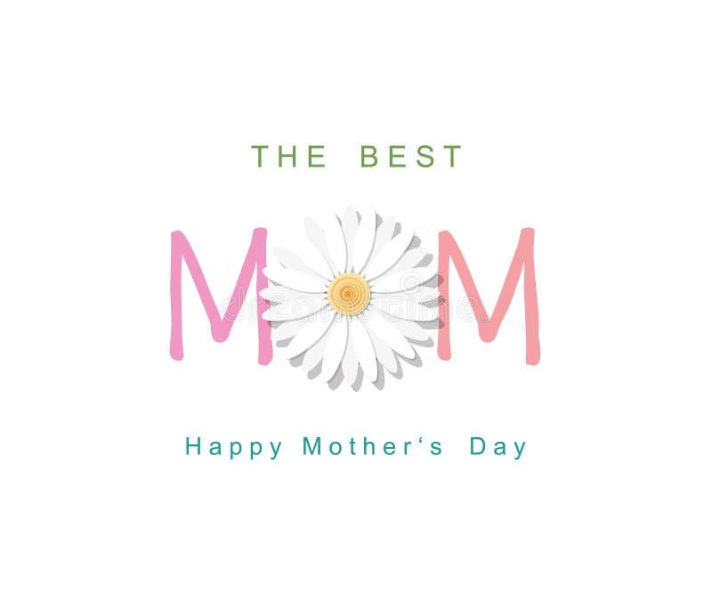 Día feliz del `s de la madre La mejor tarjeta de felicitación de la mamá stock de ilustración