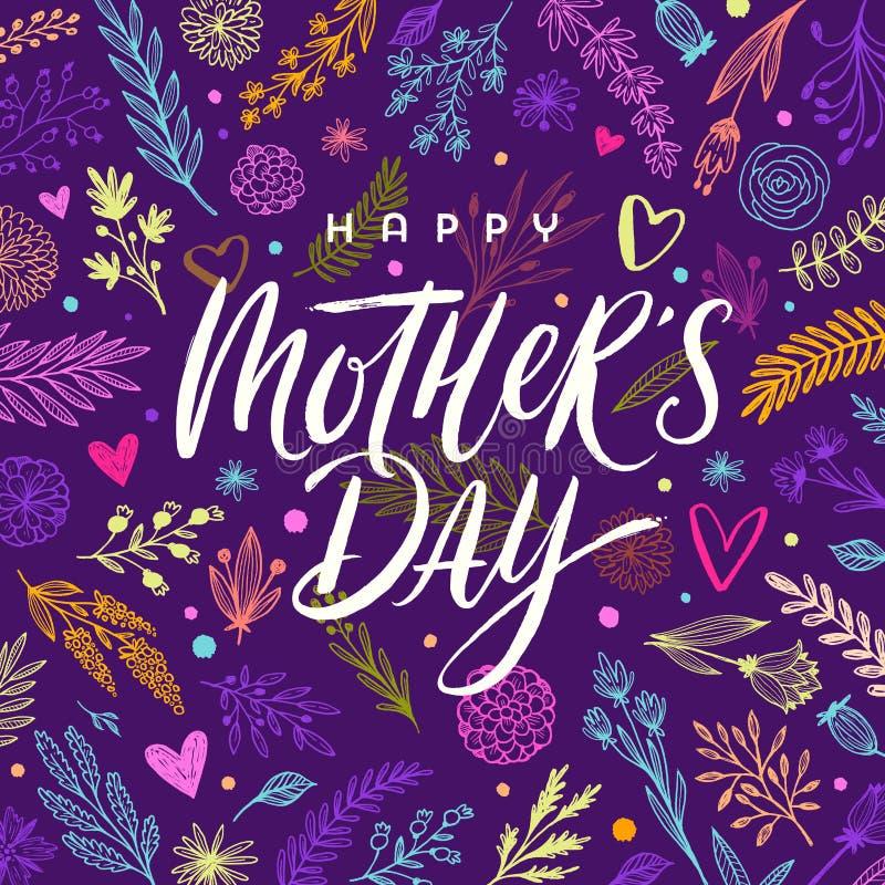 Día feliz del ` s de la madre - tarjeta de felicitación Cepille la caligrafía en fondo dibujado mano floral del modelo stock de ilustración