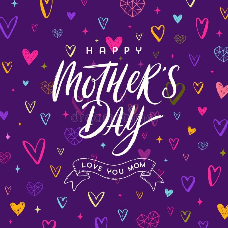 Día feliz del ` s de la madre - tarjeta de felicitación Cepille la caligrafía en un fondo dibujado mano del modelo de los corazon libre illustration
