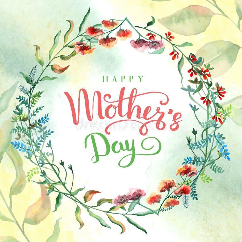 Día feliz del `s de la madre Tarjeta de felicitación con día del ` s de la madre Fondo floral Ilustración del vector stock de ilustración