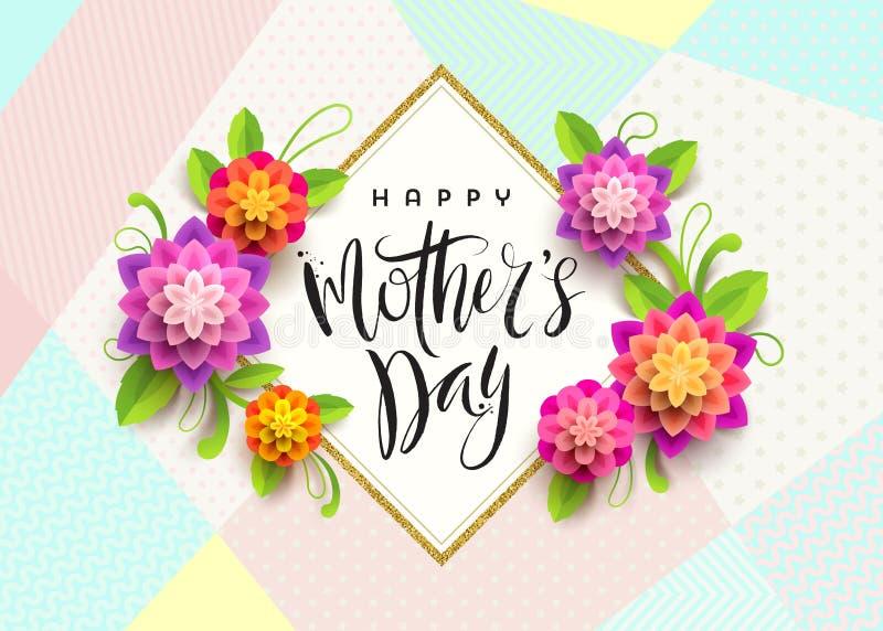 Día feliz del ` s de la madre - tarjeta de felicitación Saludo y flores de la caligrafía del cepillo stock de ilustración