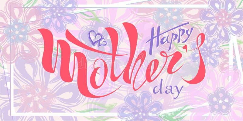 Día feliz del ` s de la madre del texto manuscrito hermoso con el corazón, modelo, postal, bandera, cartel Fondo celebrador libre illustration