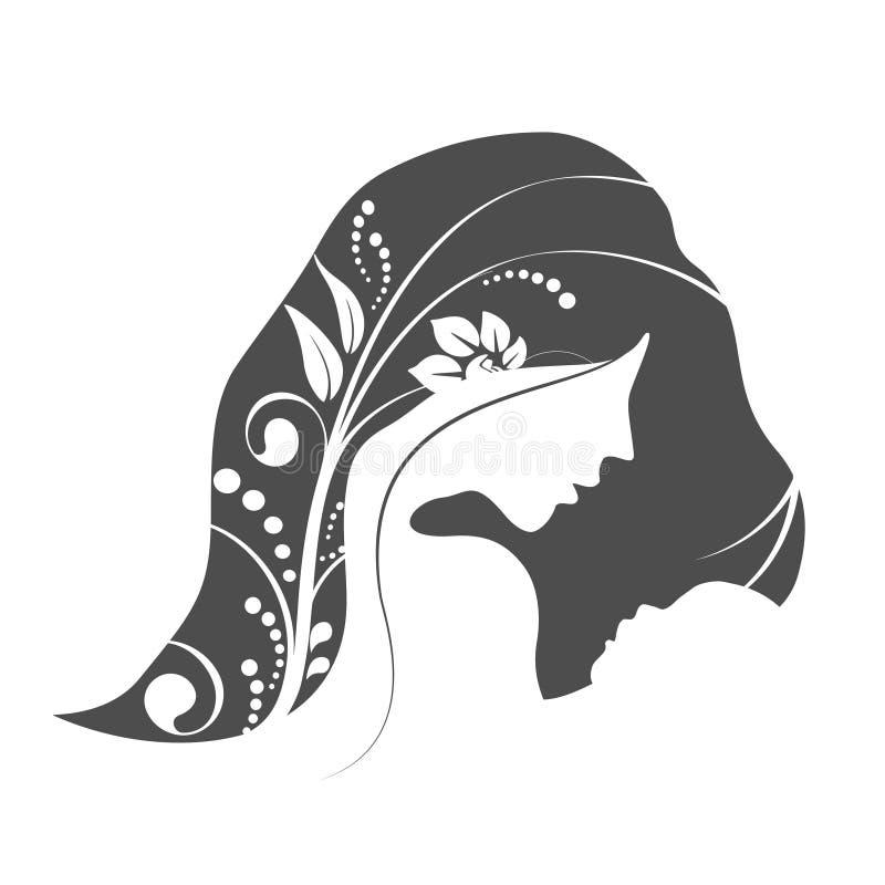 Día feliz del ` s de la madre del vector Tarjeta de felicitación con la silueta de la mujer y la silueta del bebé Fondo floral ilustración del vector