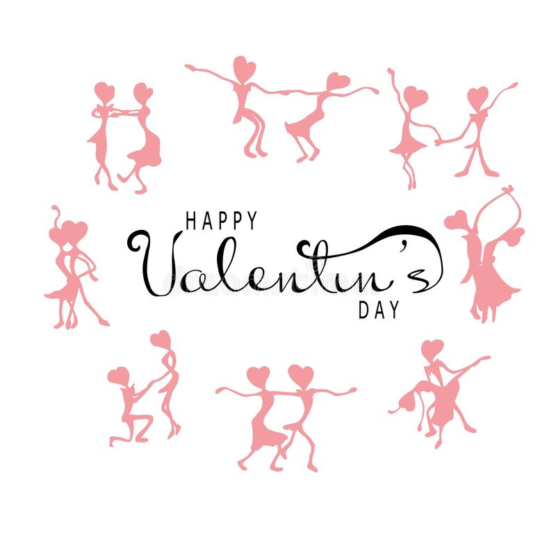 Día feliz del ` s de la tarjeta del día de San Valentín con un cartel tipográfico con el texto manuscrito de la caligrafía, en un stock de ilustración