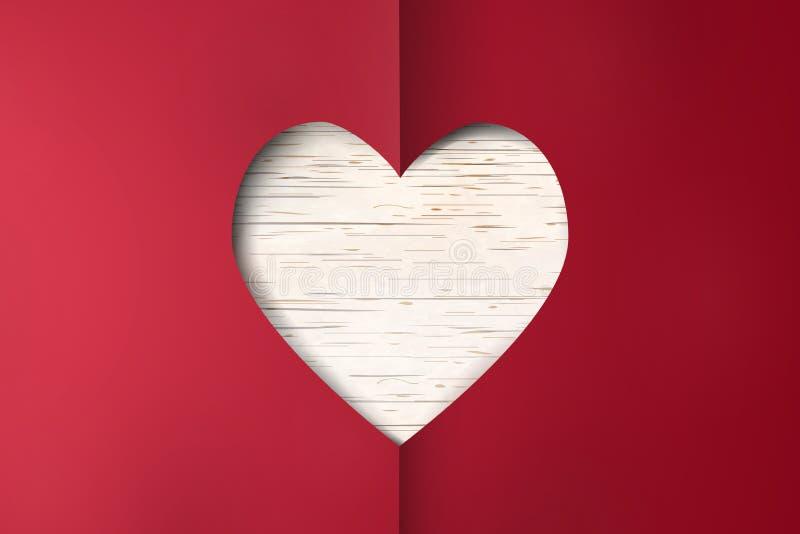 Día feliz del `s de la tarjeta del día de San Valentín Corte la tarjeta de papel roja del día de tarjetas del día de San Valentín libre illustration