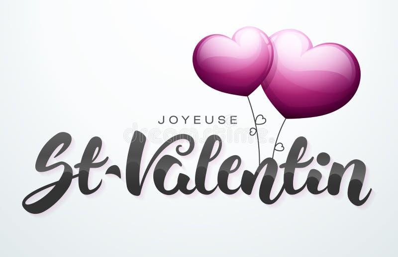 Día feliz del ` s de la tarjeta del día de San Valentín en francés: St-Valentin de Joyeuse stock de ilustración