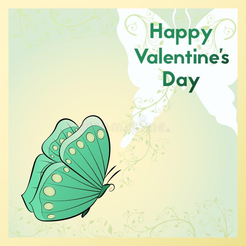Día feliz del `s de la tarjeta del día de San Valentín Tarjeta de felicitación Postal con la mariposa stock de ilustración