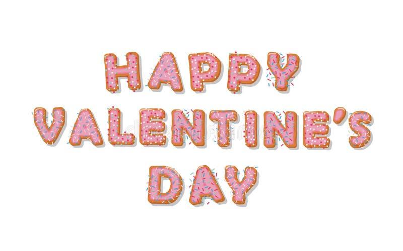 Día feliz del `s de la tarjeta del día de San Valentín Letras dibujadas mano de la historieta de la galleta Diseño lindo en color ilustración del vector