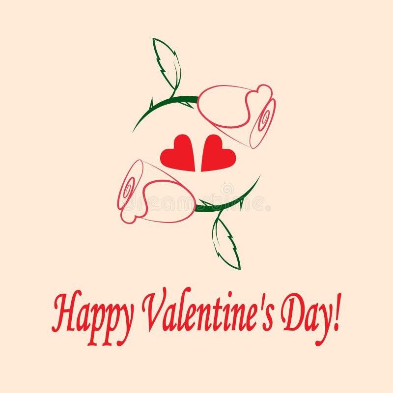 Día feliz del ` s de la tarjeta del día de San Valentín de la postal libre illustration