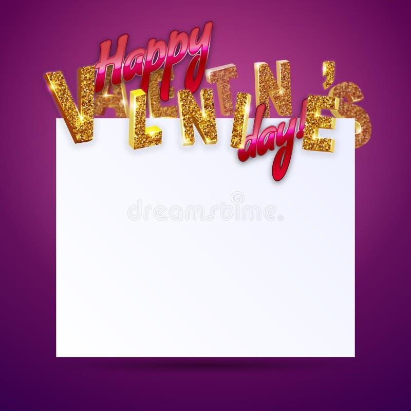 Día feliz del `s de la tarjeta del día de San Valentín texto 3d con las chispas con el espacio de la copia en fondo de neón vivo libre illustration
