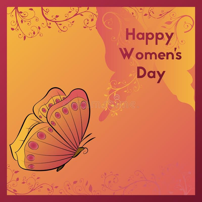 Día feliz del ` s de las mujeres Tarjetas de felicitación del diseño Remolinos de la planta Mariposa del vuelo de la decoración stock de ilustración