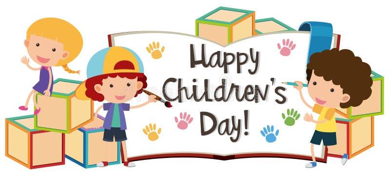 Día feliz del ` s de los niños con los niños y los bloques stock de ilustración