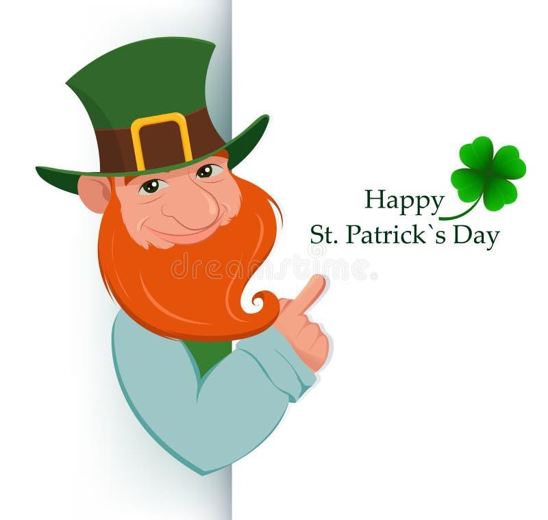 Día feliz del ` s de St Patrick Duende feliz de la historieta que se coloca detrás de la muestra stock de ilustración