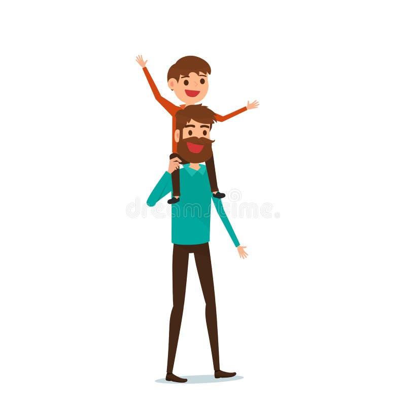 Día feliz del ` s del padre Concepto de familia feliz Papá que lleva al pequeño hijo en sus hombros libre illustration