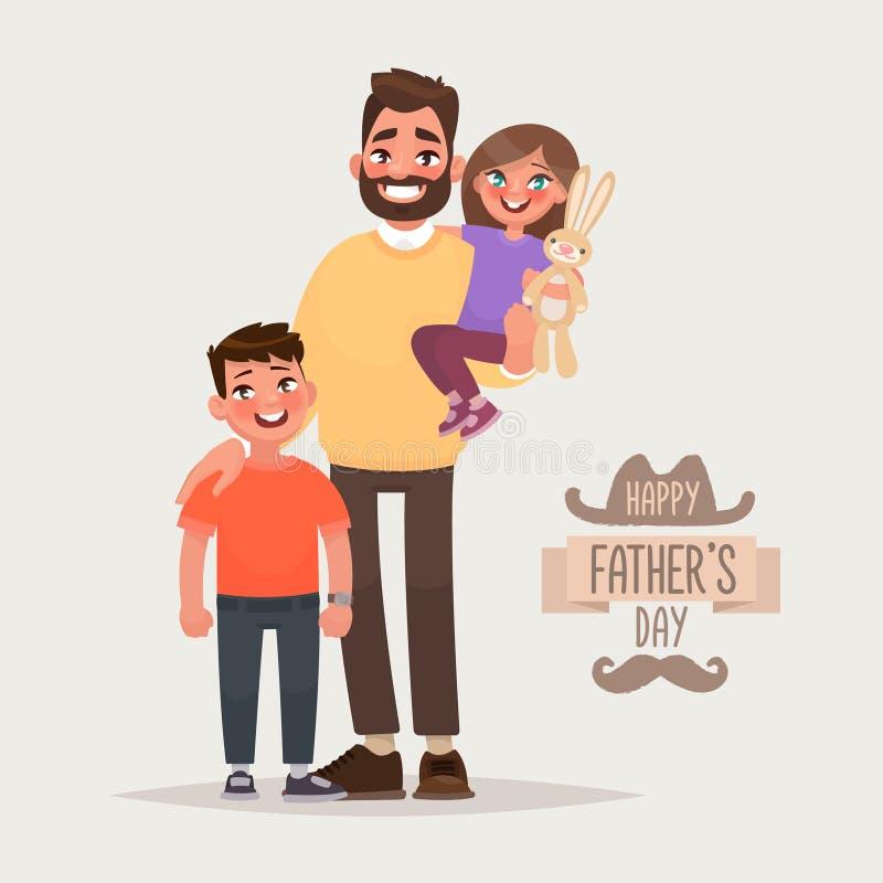Día feliz del ` s del padre Padre con su hijo e hija Tarjeta de felicitación Ilustración del vector libre illustration