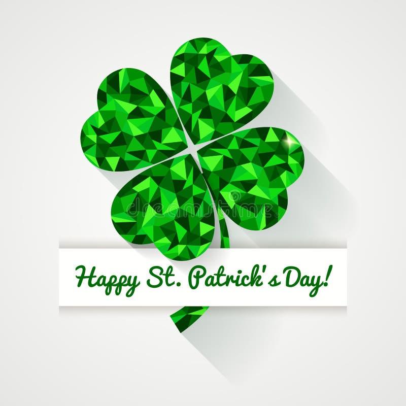 ¡Día feliz del St Patricks! Tarjeta de felicitación con el pasto poligonal del trébol stock de ilustración