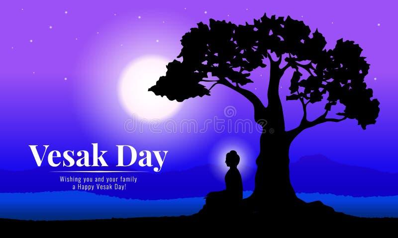 Día feliz del vesak con la meditación de Buda debajo del árbol de Bodhi en diseño del vector de la noche de la Luna Llena stock de ilustración