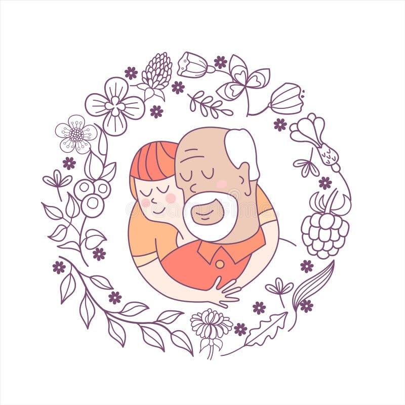 Día feliz para los ancianos Tarjeta de felicitación preciosa con un día de fiesta stock de ilustración