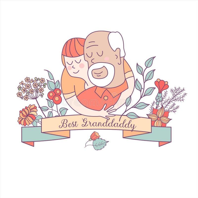 Día feliz para los ancianos Tarjeta de felicitación preciosa con un día de fiesta ilustración del vector