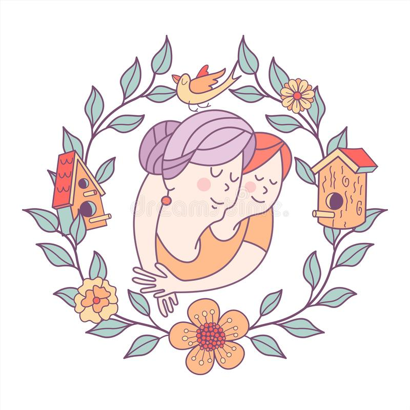 Día feliz para los ancianos Tarjeta de felicitación preciosa con un día de fiesta libre illustration