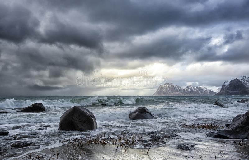 Día frío y ventoso en Lofoten foto de archivo libre de regalías