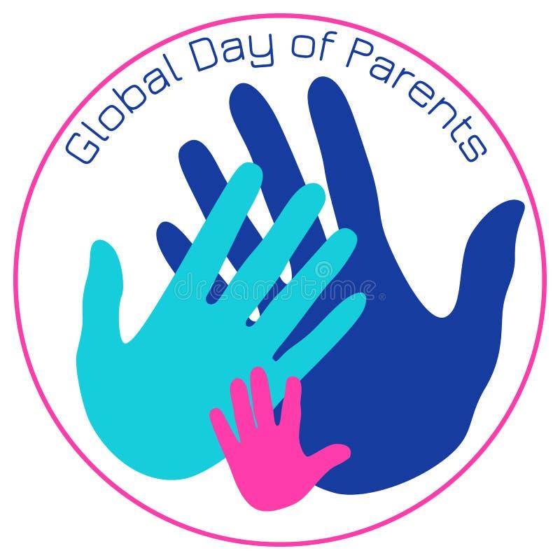 Día global de padres Palmas del padre, de la madre y del niño ilustración del vector