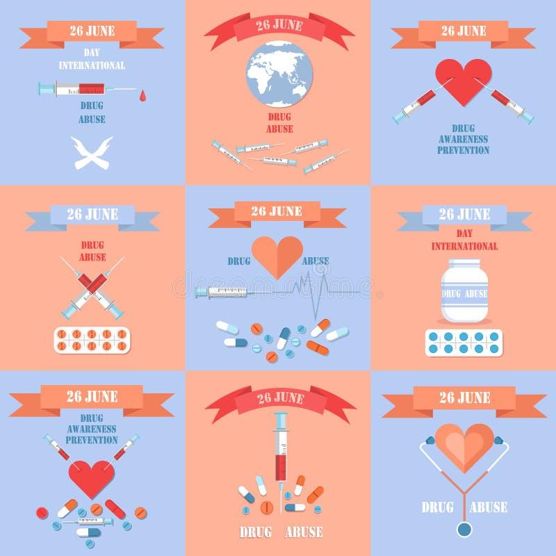 Día internacional contra los carteles de la tenencia ilícita de drogas fijados libre illustration