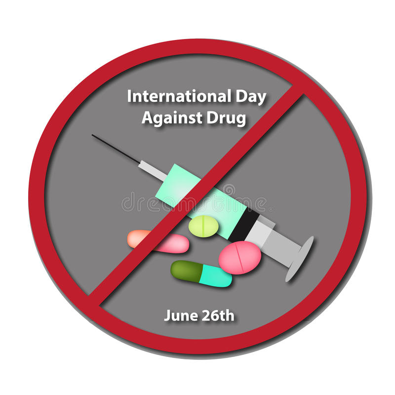 Día internacional contra tenencia ilícita de drogas 26 de junio stock de ilustración