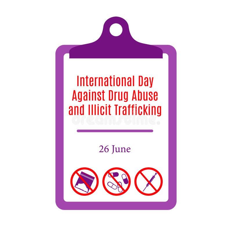 Día internacional contra tenencia ilícita de drogas y el tráfico ilícito libre illustration