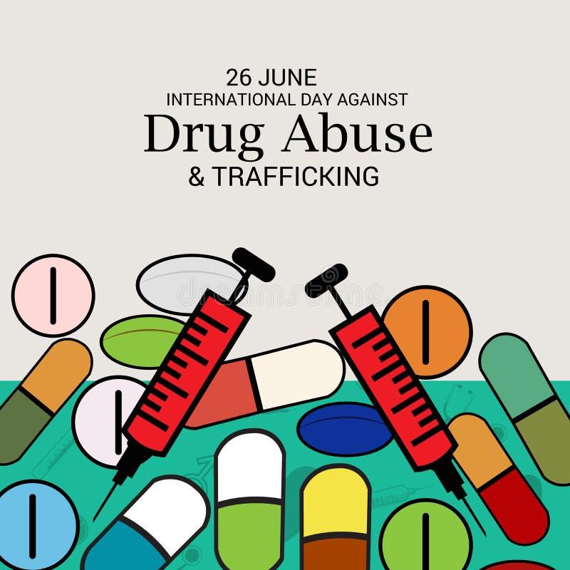 Día internacional contra tenencia ilícita y el tráfico de drogas ilustración del vector