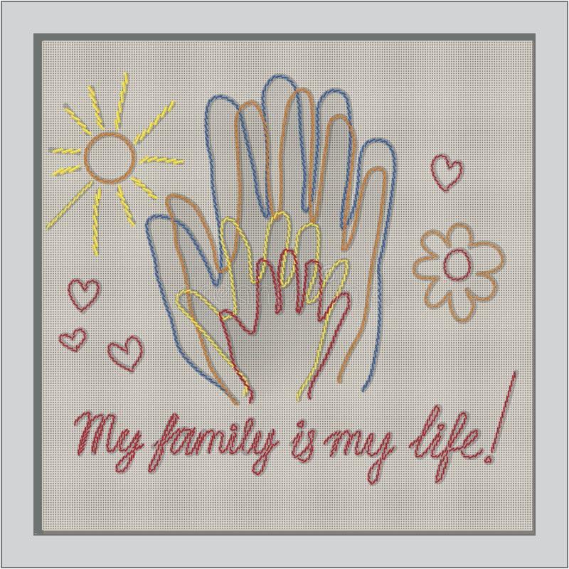 Día internacional de familias Concepto de una familia de 4 personas - padre, madre, hija, bebé - handprints ilustración del vector