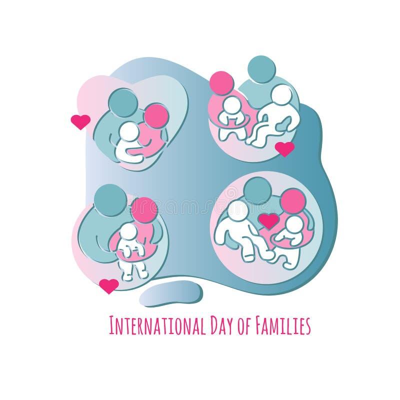 Día internacional de familias Conjunto de iconos de la familia Vector ilustración del vector