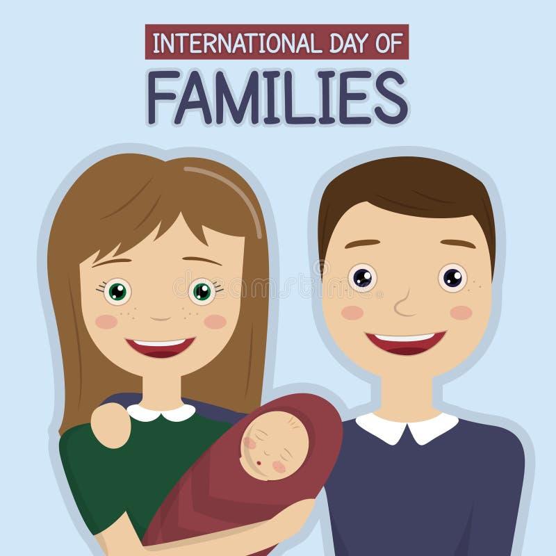 Día internacional de familias, el 15 de mayo stock de ilustración