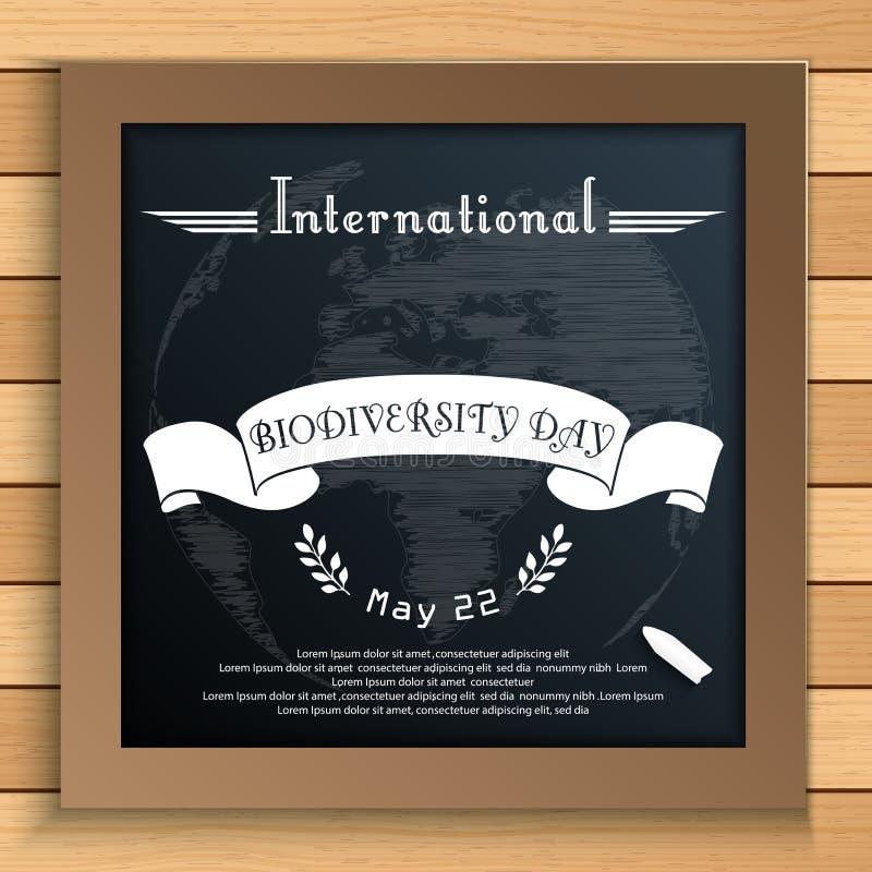 Día internacional de la biodiversidad con tierra y la cinta blanca en la pizarra libre illustration