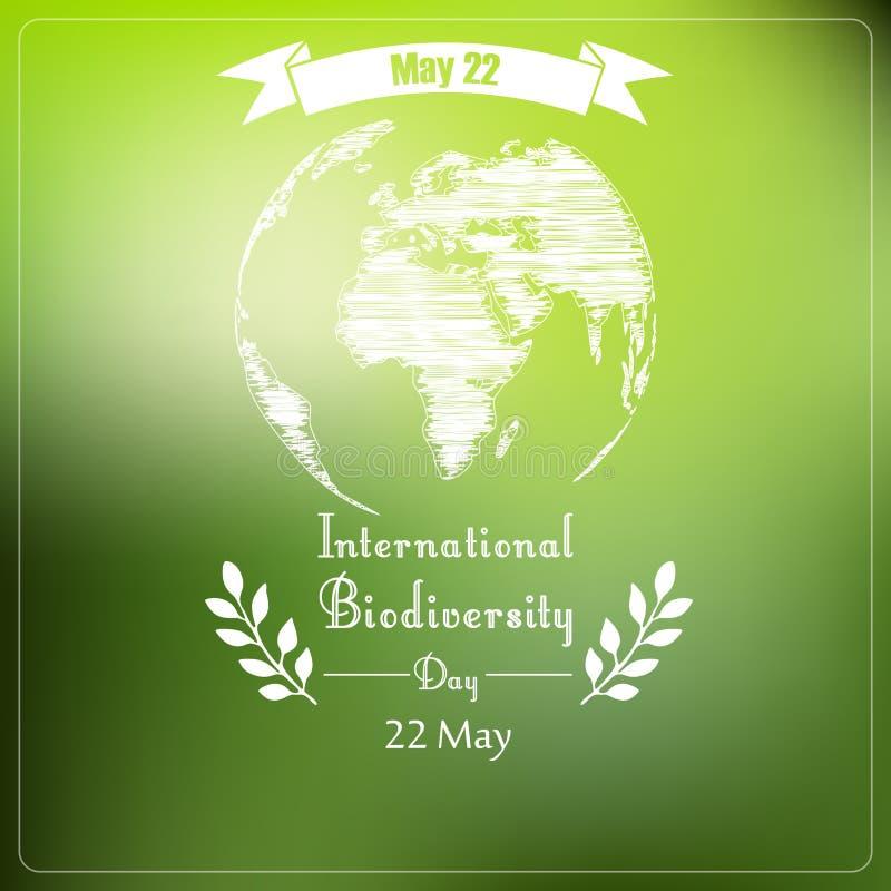 Día internacional de la biodiversidad de tipografía de la forma ilustración del vector