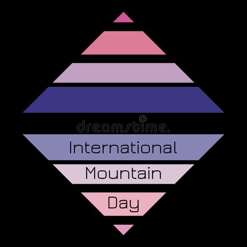 Día internacional de la montaña El concepto de día de fiesta ecológico y social Triángulo - montaña simbólica y su reflexión en e stock de ilustración