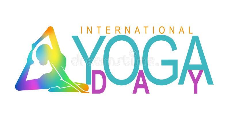 Día internacional de la yoga con la mujer stock de ilustración