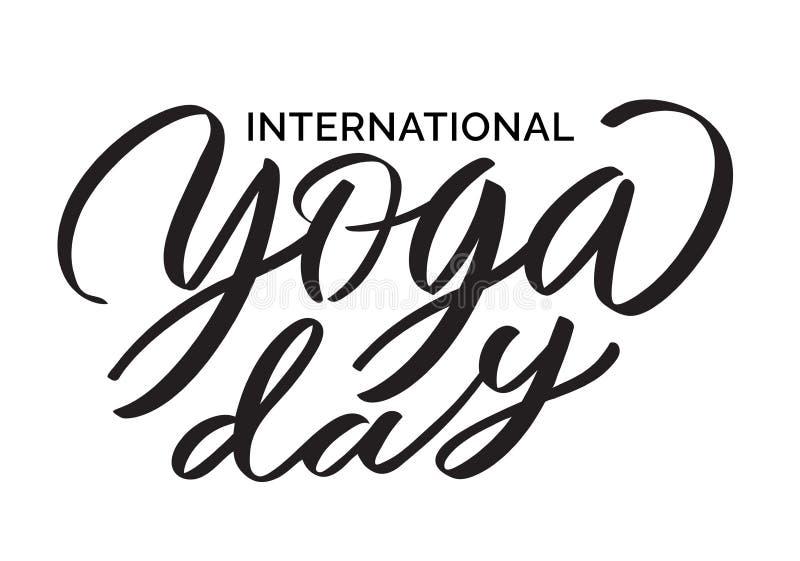 Día internacional de la yoga - escritura del vector, letras, tipografía, caligrafía stock de ilustración