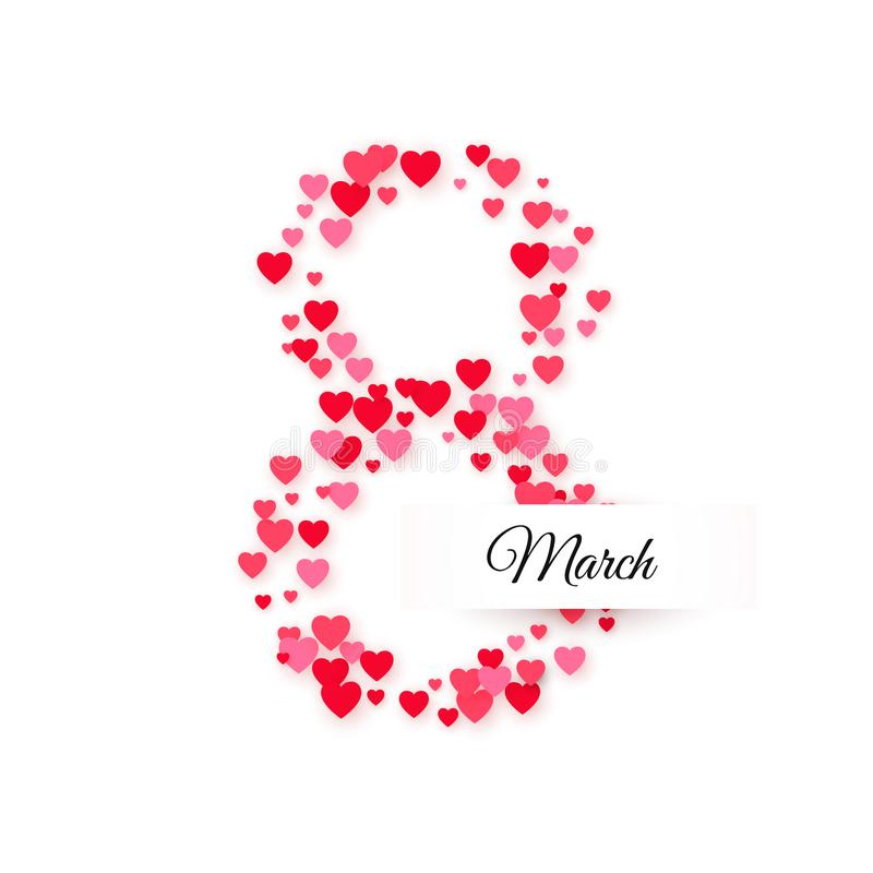 Día internacional de las mujeres 8 de marzo saludo de la postal Ocho se hace de corazones con la etiqueta del texto Concepto de l ilustración del vector