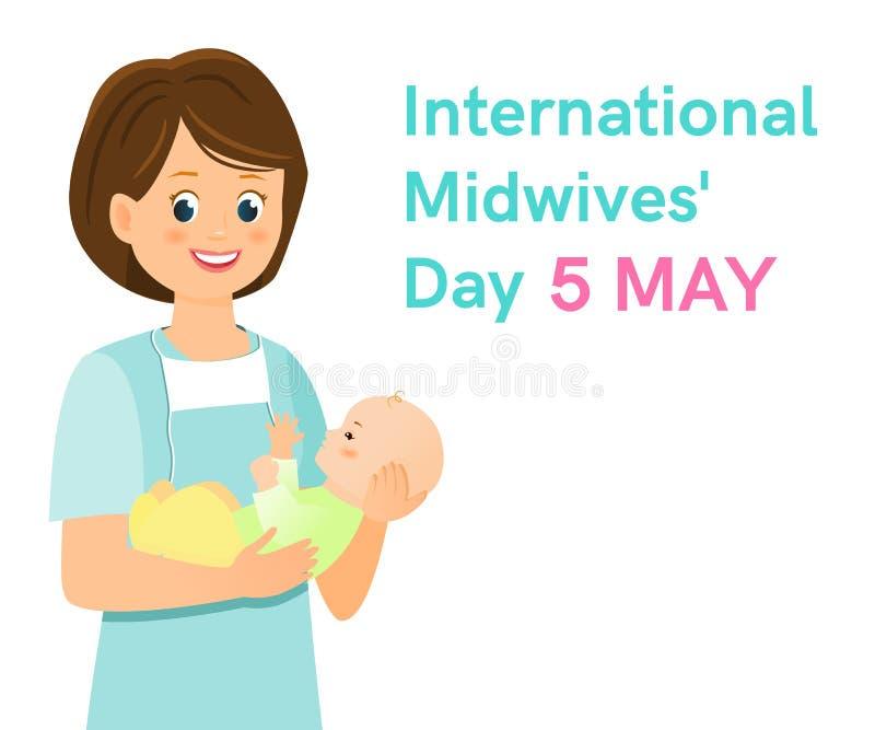 Día internacional de las parteras Parteras con recién nacido stock de ilustración