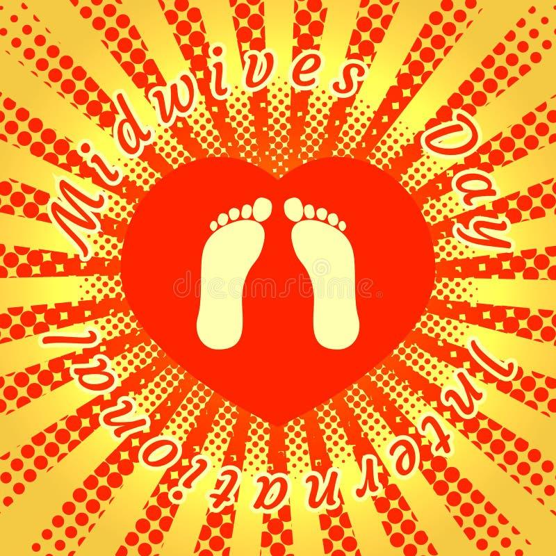 Día internacional de las parteras E Corazón del rojo del fondo libre illustration