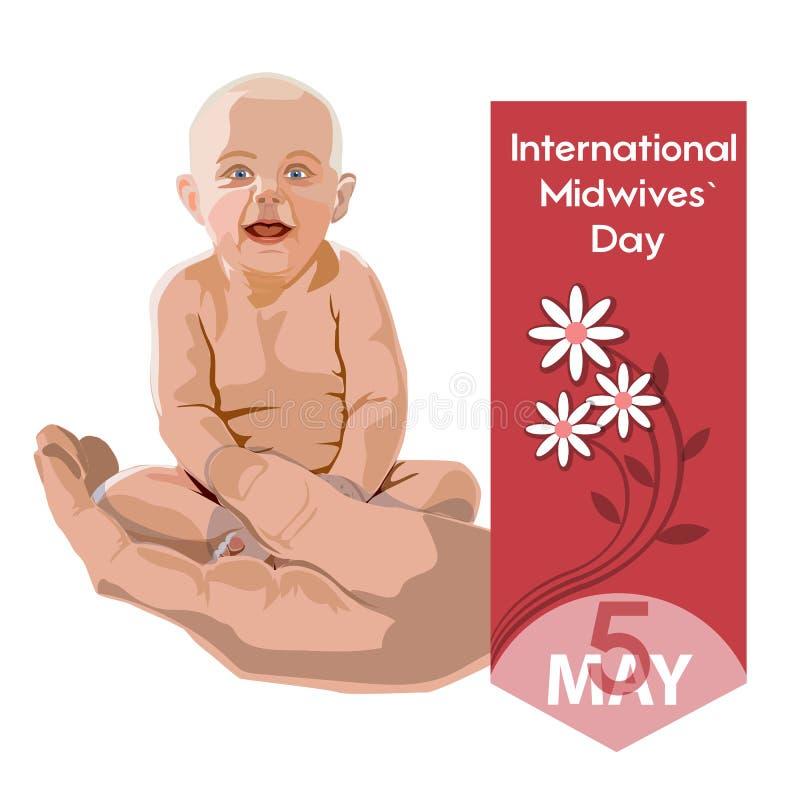 Día internacional de las parteras - postal, cartel o bandera ilustración del vector