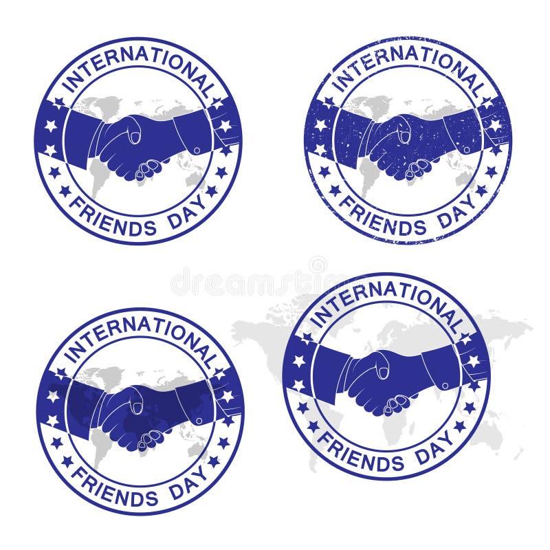 Día internacional de los amigos Sistema abstracto del sello de goma del grunge, vector ilustración del vector