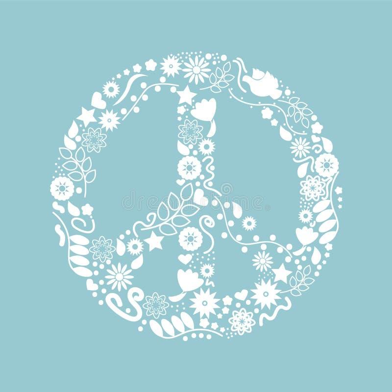 Día internacional de paz Icono agradable con los pájaros, las estrellas, y las flores blancos en fondo azul Ilustración del vecto libre illustration