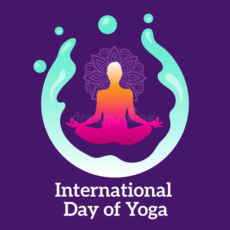 Día internacional de tema de la playa del gráfico y del ejemplo de la yoga ilustración del vector