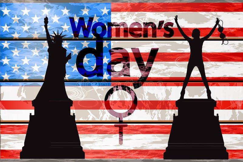 Día internacional del ` s de las mujeres Silueta de la muchacha stock de ilustración