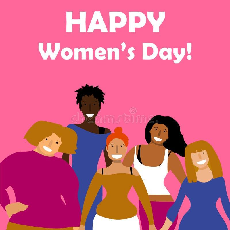 Día internacional del ` s de las mujeres Vector la plantilla con para la tarjeta, el cartel, el aviador y otros usuarios ilustración del vector